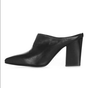 Topshop Black Leather Mules